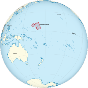 Marshall Islands on the globe (enlarged)