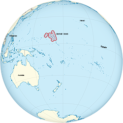 Marshall Islands on the globe