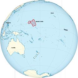 Marshall Islands on the globe