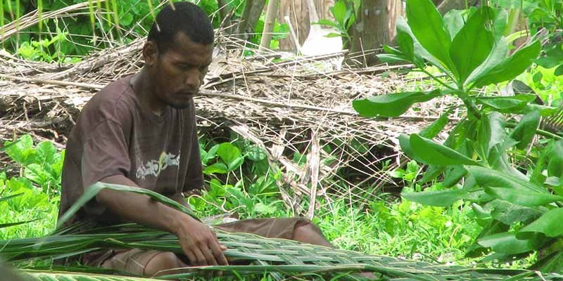 Coconut frond weaving for roof coverage